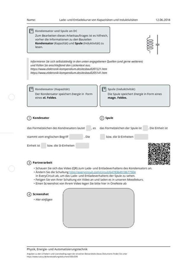 Cover: Lade- und Entladekurve von Kapazitäten und Induktivitäten