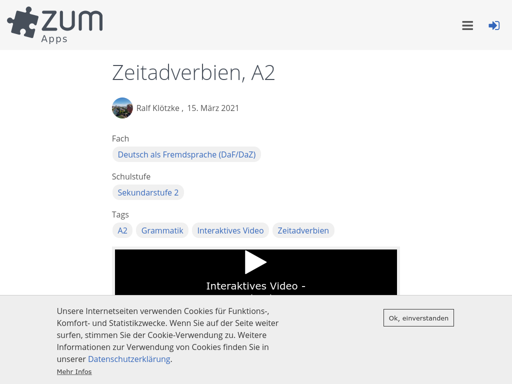 Cover: Zeitadverbien | ZUM-Apps