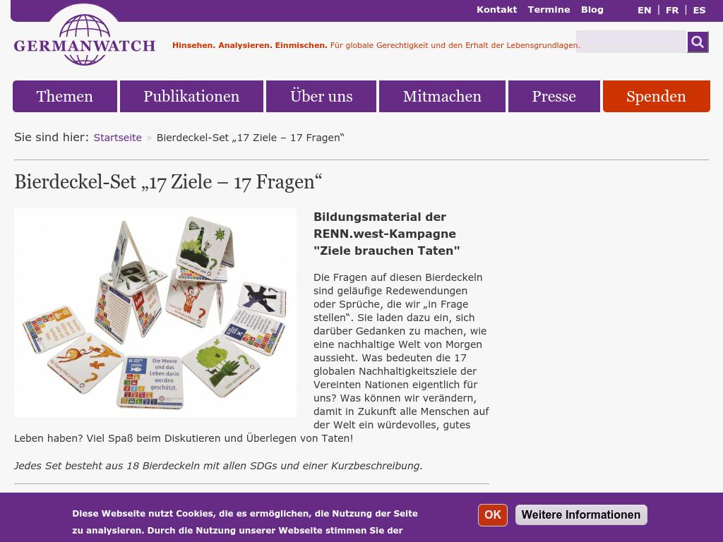"""Cover: Bierdeckel-Set """"17 Ziele – 17 Fragen"""""""