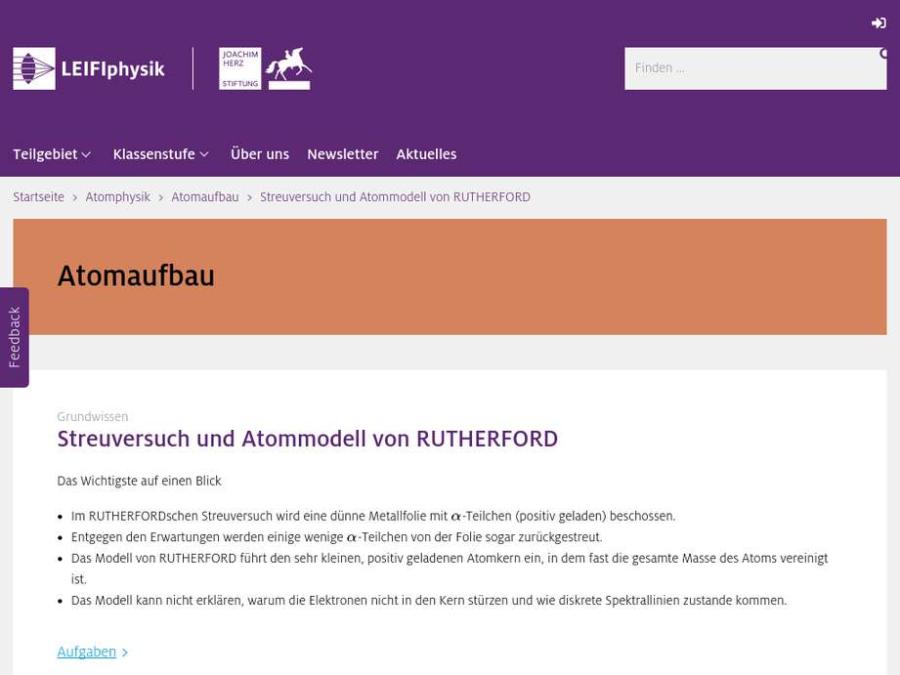 Cover: Streuversuch und Atommodell von Rutherford