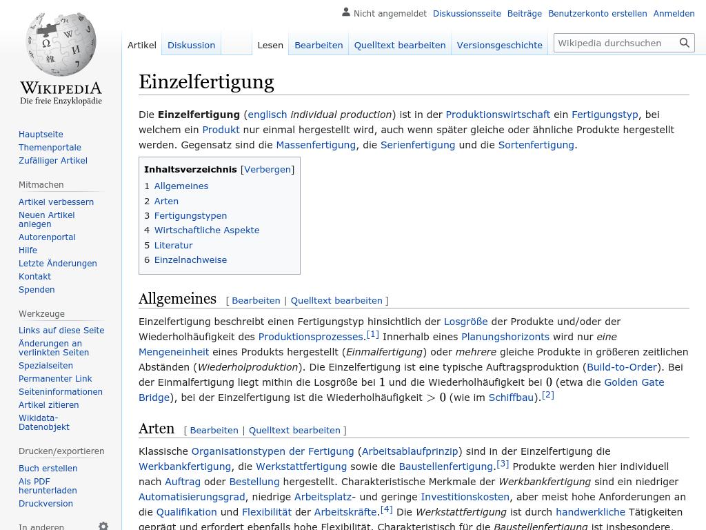 Cover: Einzelfertigung - wikipedia.org