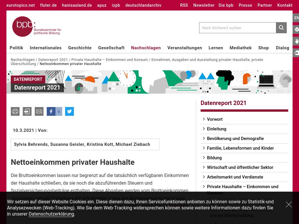 Cover: Nettoeinkommen privater Haushalte   bpb