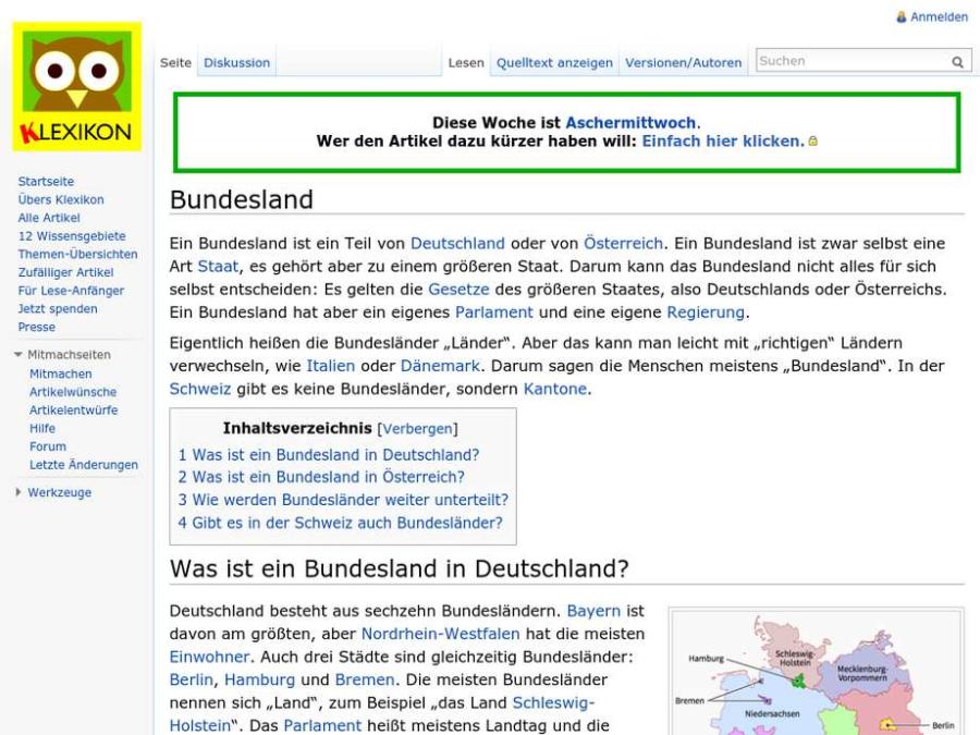 Cover: Klexikon Eintrag Bundesland