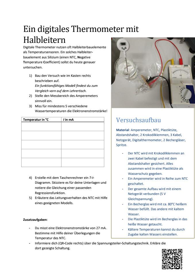 Cover: NTC als Thermometer - Temperatur-Stromstärke-Diagramm