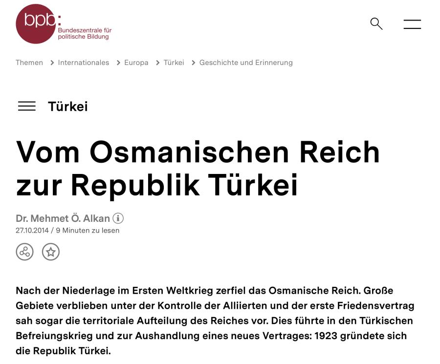 Cover: Vom Osmanischen Reich zur Republik Türkei | bpb