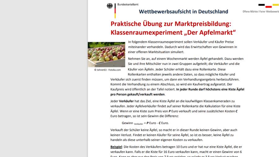 """Cover: Praktische Übung zur Marktpreisbildung: Klassenraumexperiment """"Der Apfelmarkt"""
