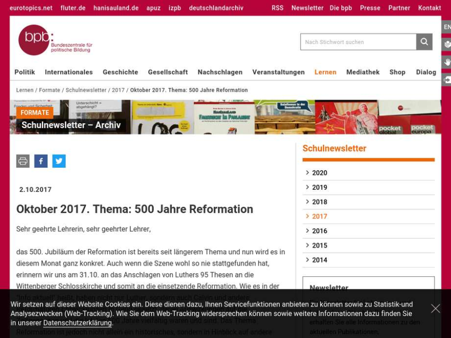 Cover:  500 Jahre Reformation