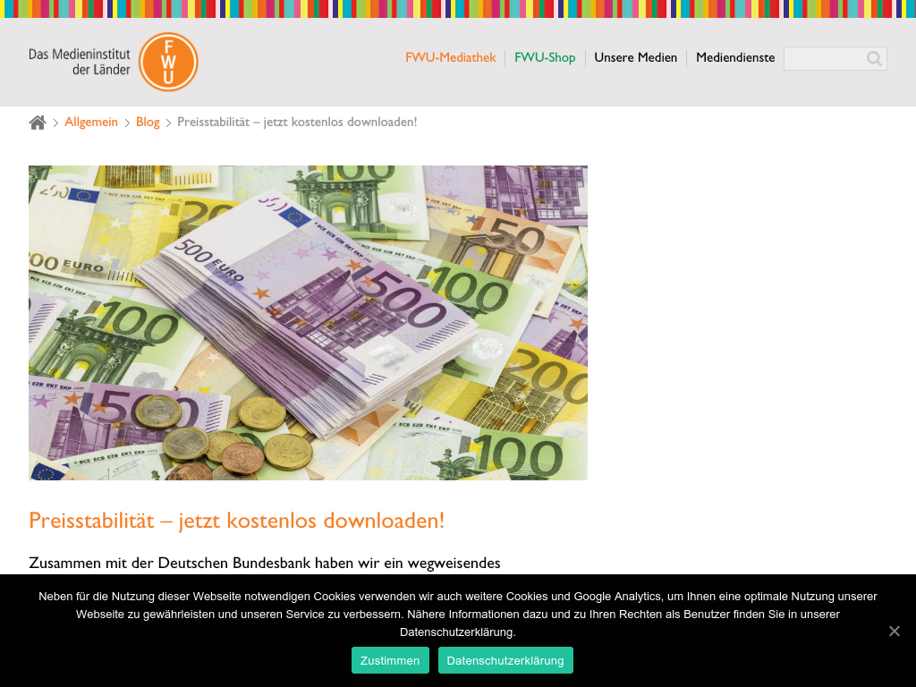 Cover: Preisstabilität – jetzt kostenlos downloaden!   FWU