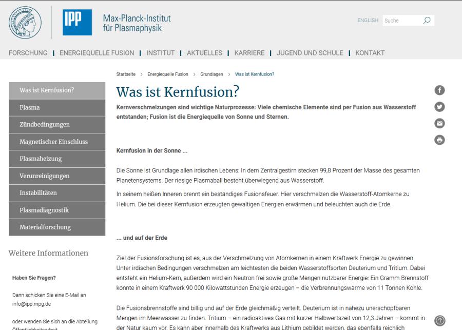 Cover: Was ist Kernfusion?   Max-Planck-Institut für Plasmaphysik