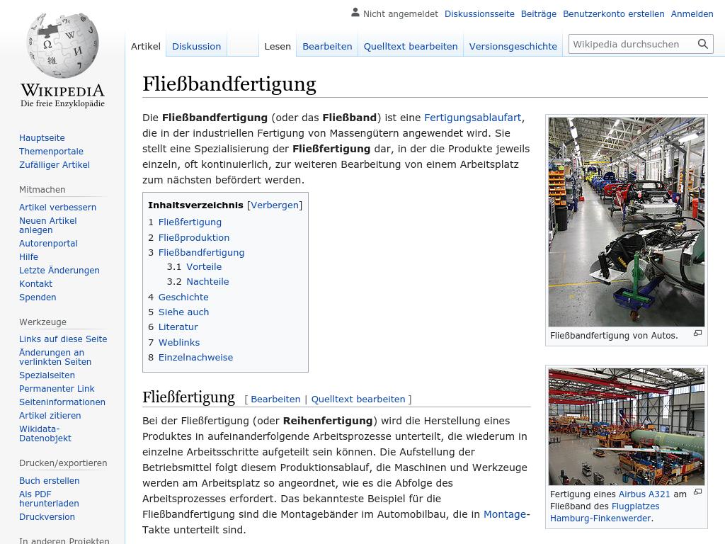 Cover: Fließbandfertigung - wikipedia.org