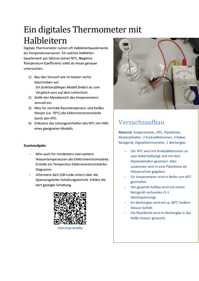 Cover: Ein NTC als digitales Thermometer (Kurzversion)