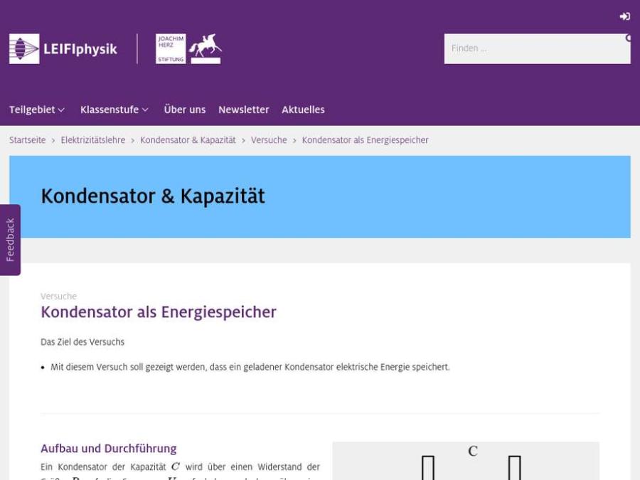 Cover: Kondensator als Energiespeicher