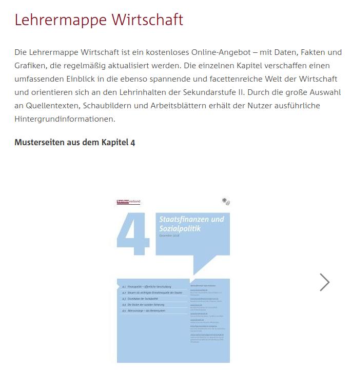 Cover: Lehrermappe Wirtschaft  - Bankenverband