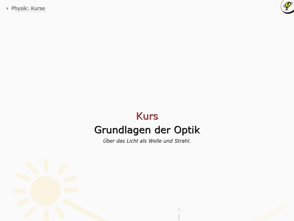Cover: Grundlagen der Wellenoptik - Online-Kurs
