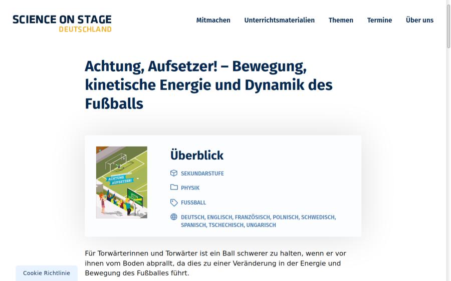 Cover: Achtung, Aufsetzer! – Bewegung, kinetische Energie und Dynamik des Fußballs   Science On Stage