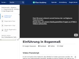 Cover: Khan Academy: Einführung in Bogenmaß (Video), Umrechnungen und interaktive Übungen