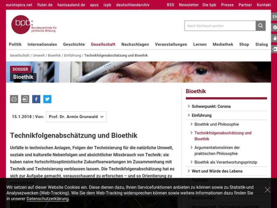 Cover: Technikfolgenabschätzung und Bioethik