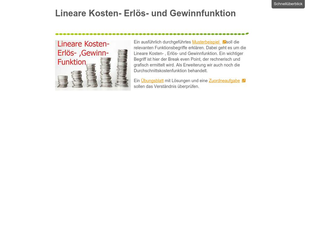 Cover: Lineare Kosten-, Erlös- und Gewinnfunktion