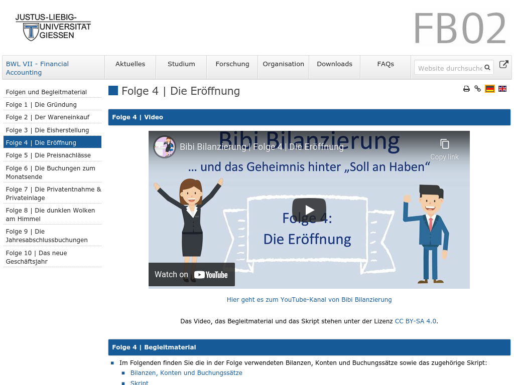 Cover: Folge 4   Die Eröffnung — BWL VII - Financial Accounting