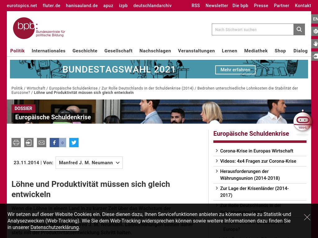 Cover: Löhne und Produktivität müssen sich gleich entwickeln   bpb
