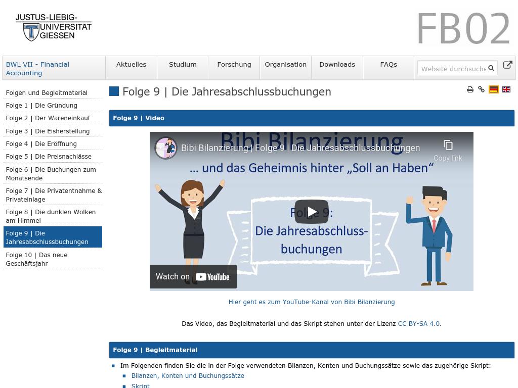 Cover: Folge 9   Die Jahresabschlussbuchungen — BWL VII - Financial Accounting