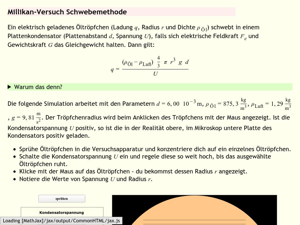 Cover: MILLIKAN-Versuch - Schwebemethode (Simulation)