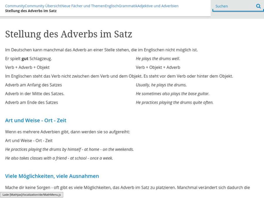 Cover: Stellung des Adverbs im Satz