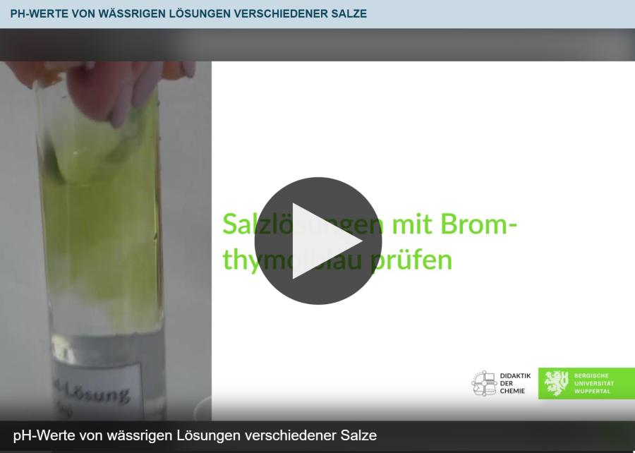 Cover: pH-Werte von wässrigen Lösungen verschiedener Salze