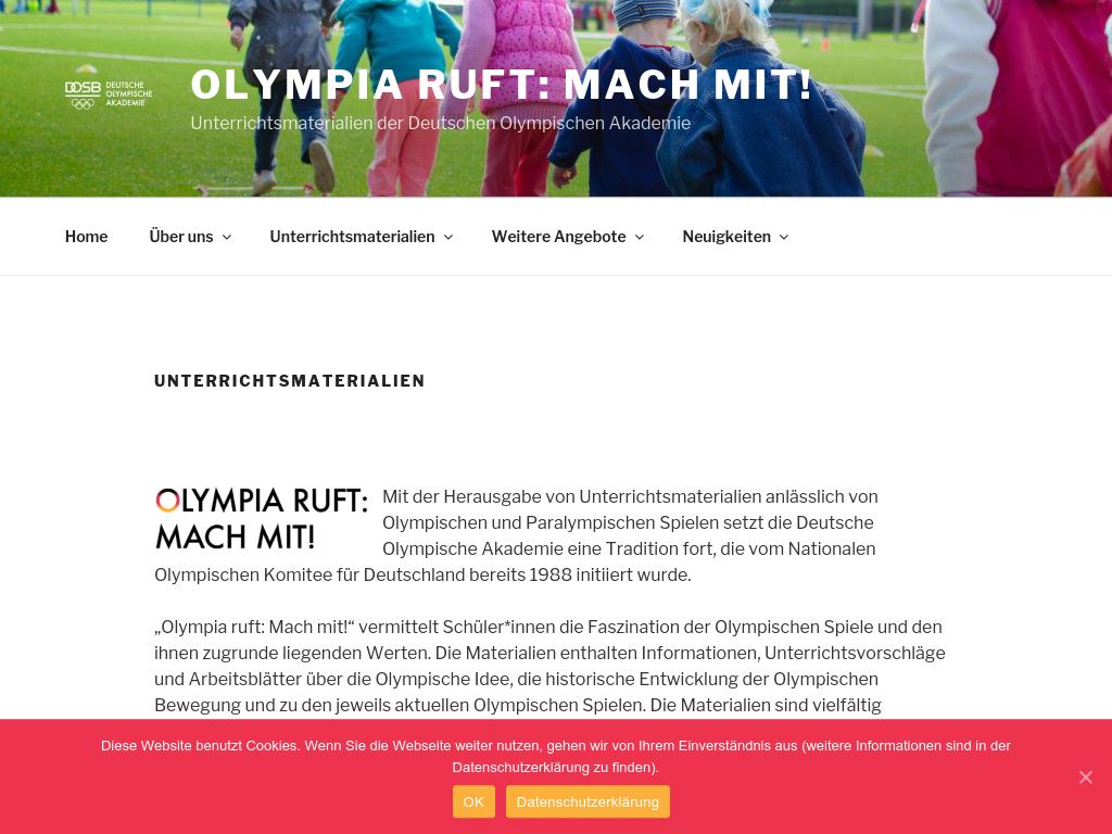 Cover: Unterrichtsmaterialien   Olympia ruft: Mach mit!