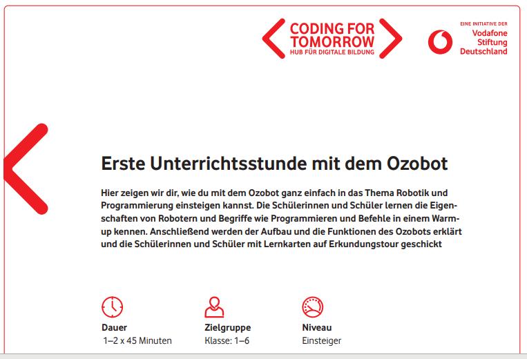 Cover: Erste Unterrichtsstunde mit dem Ozobot