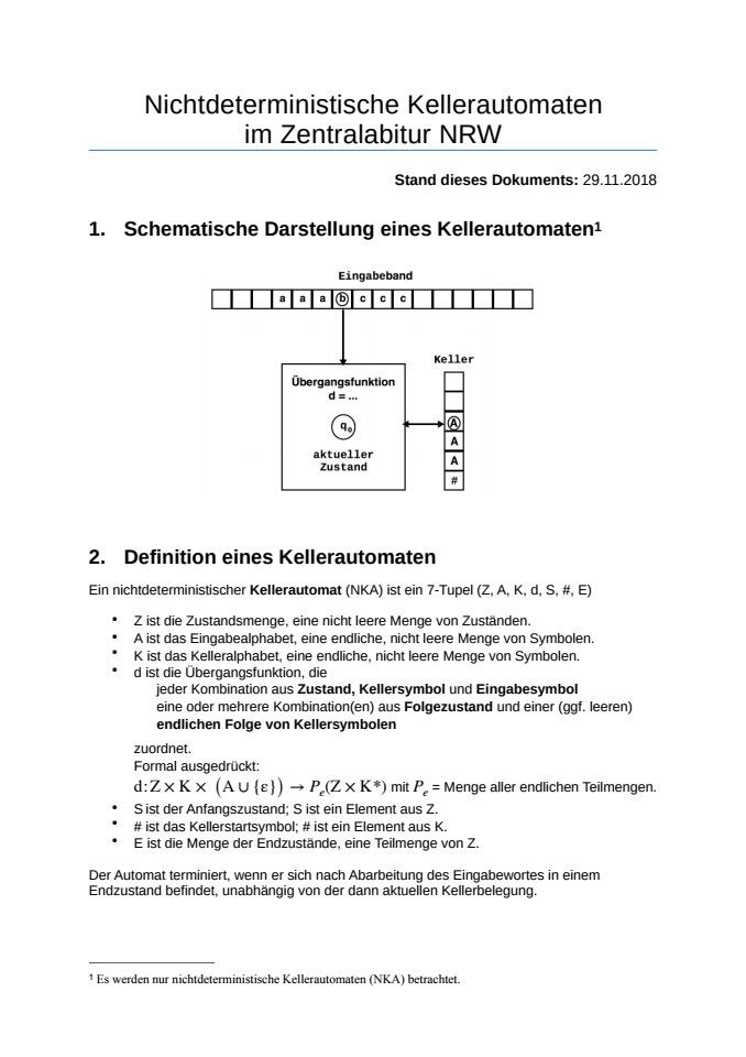 Cover: Nichtdeterministische Kellerautomaten im Zentralabitur NRW