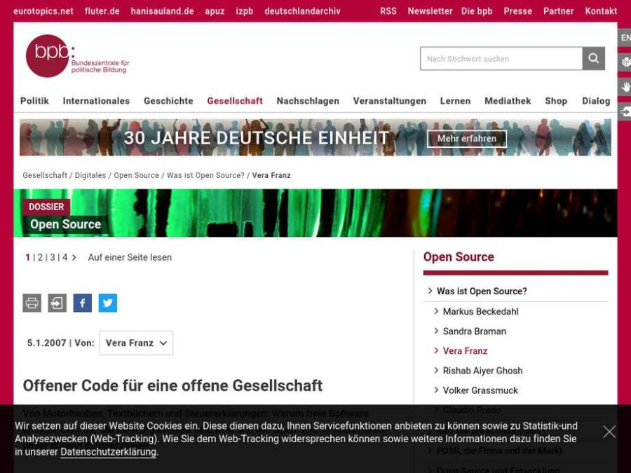 Cover: Was ist Open Source? - Interview Vera Franz - Dossier Open Source
