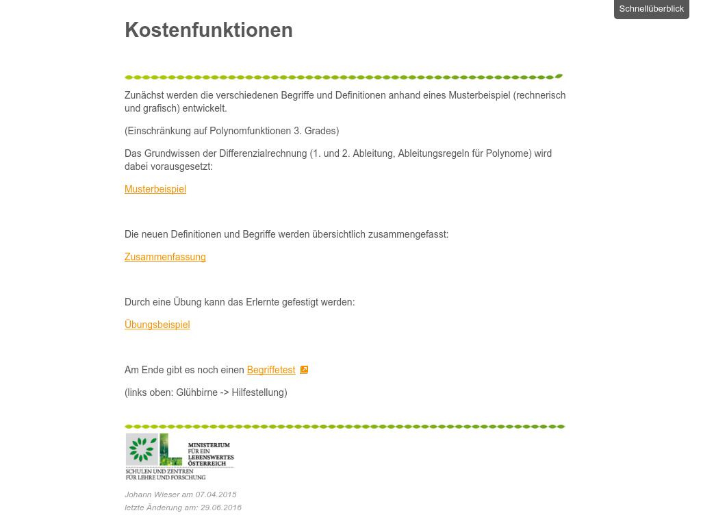 Cover: Kostenfunktionen