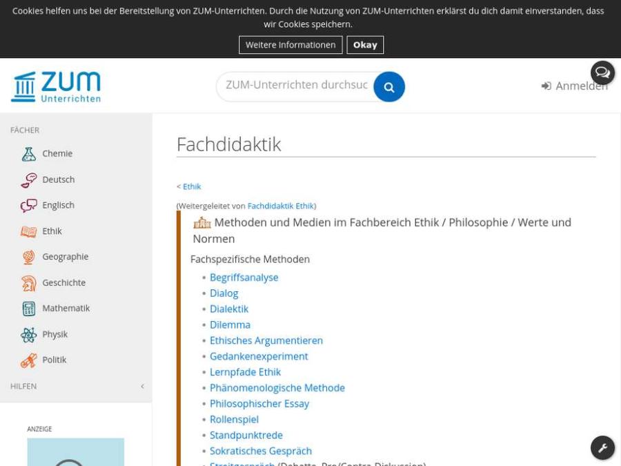 Cover: Fachdidaktik Ethik des ZUM-Portals