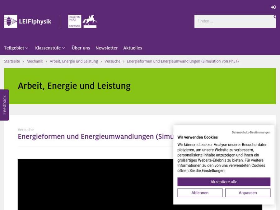 Cover: Energieformen und Energieumwandlungen (Simulation von PhET)