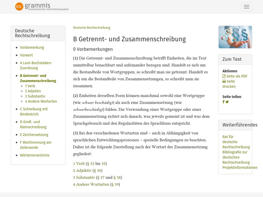 Cover: Getrennt- und Zusammenschreibung - Amtliches Regelwerk