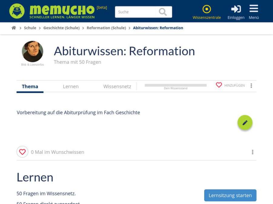 Cover: Abiturwissen: ein Lernset zur Reformation