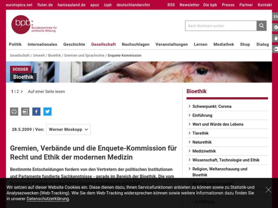 Cover: Die Enquette-Kommission des Deutschen Bundestages als ethisch-rechtliches Gremium