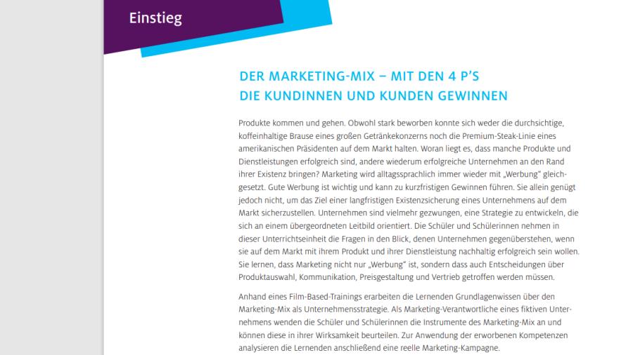 Cover: Der Marketing-Mix – mit den 4 P's
