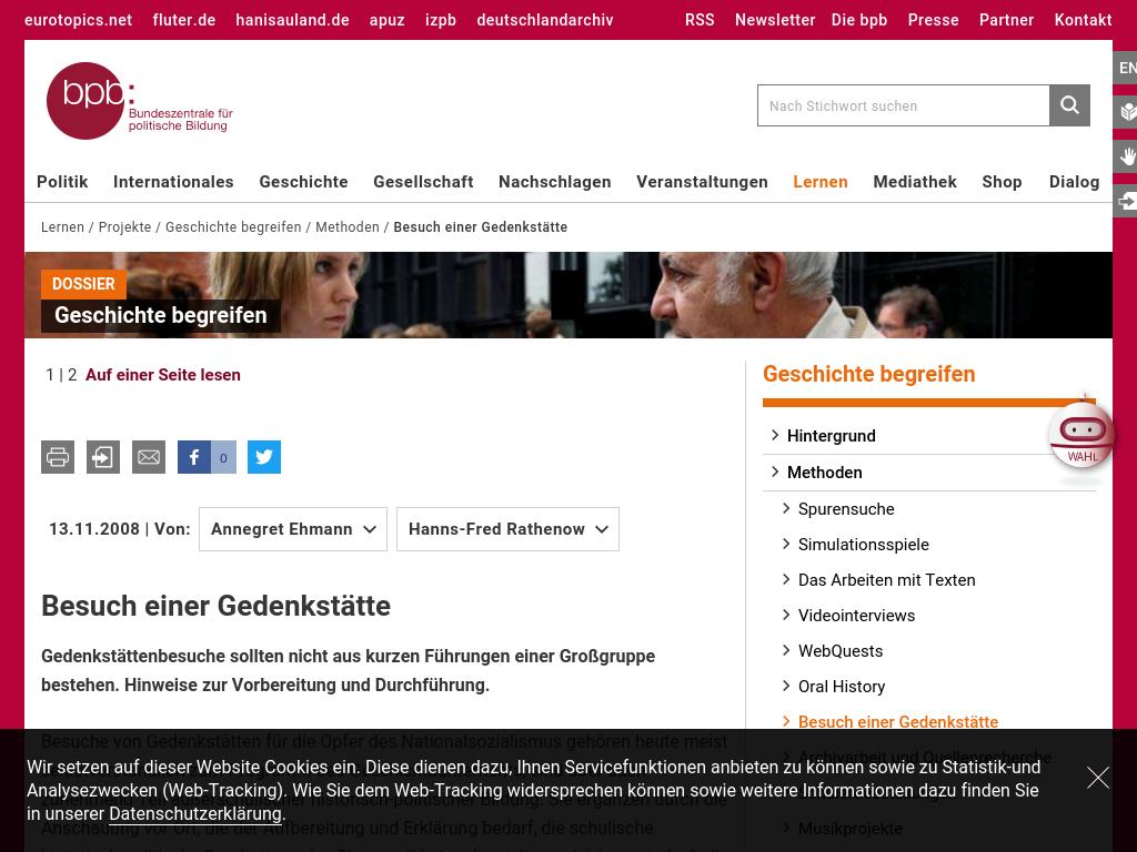 Cover: Besuch einer Gedenkstätte - Dossier Geschichte begreifen