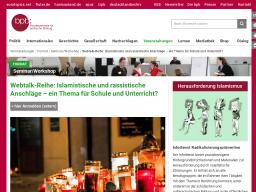 Cover: Webtalk-Reihe: Islamistische und rassistische Anschläge – ein Thema für Schule und Unterricht?