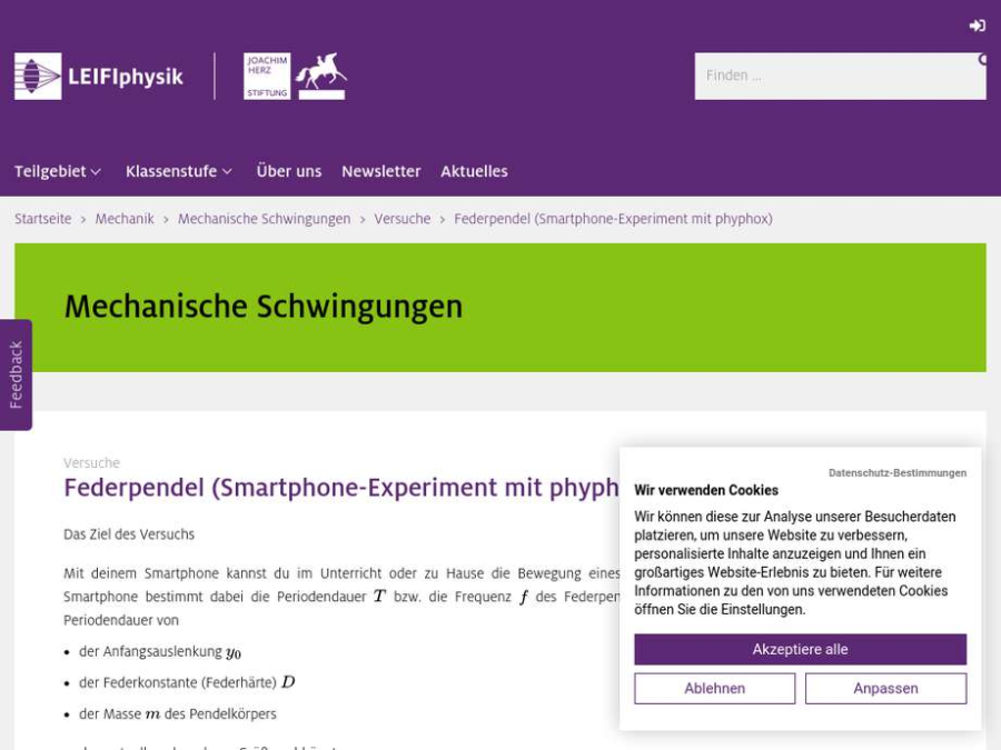 Cover: Federpendel (Smartphone-Experiment mit phyphox)