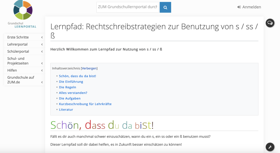 Cover: Interaktiver Lernpfad zur s-Schreibung