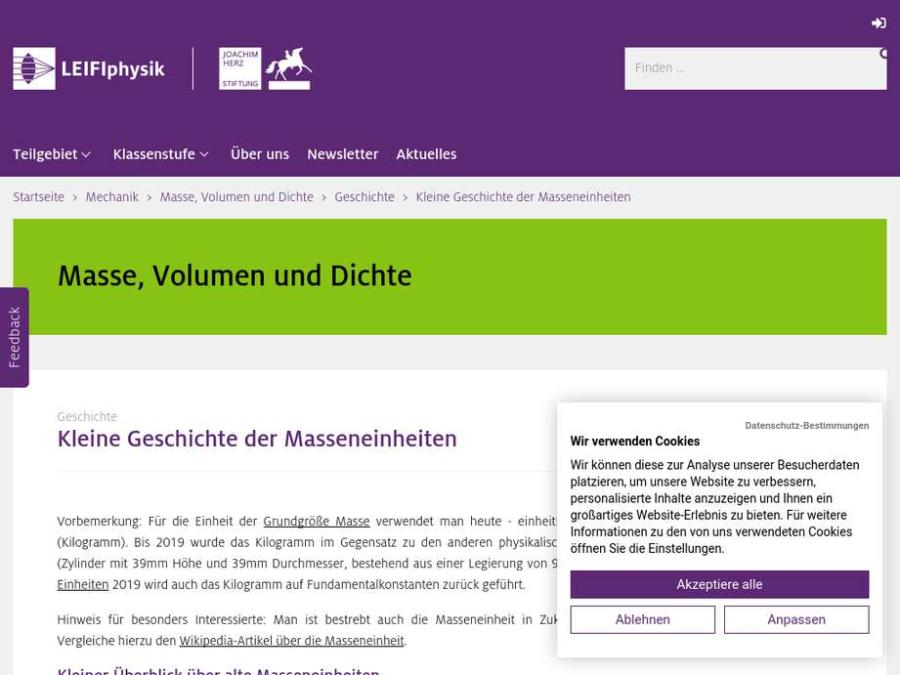 Cover: Kleine Geschichte der Masseneinheiten