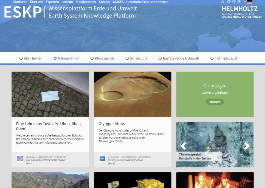 Cover: Naturgefahren- Wissensplattform der Helmholtz-Gemeinschaft