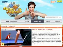Cover: Informationen zur Sportart Tischtennis - Sportarten  - Kann es Johannes? - TV   - Kinder