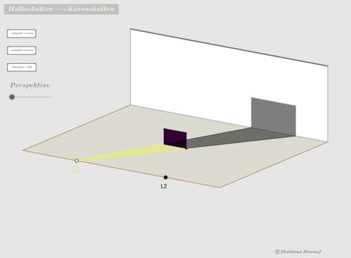 Cover: Schatten zweier Lichtquellen  -- Halbschatten / Kernschatten