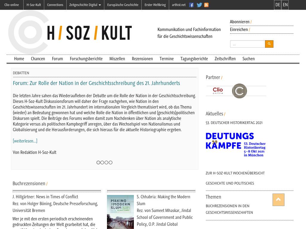 Cover: H-Soz-Kult - Informations- und Kommunikationsplattform