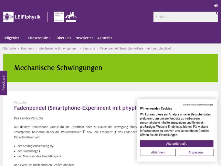 Cover: Fadenpendel (Smartphone-Experiment mit phyphox)