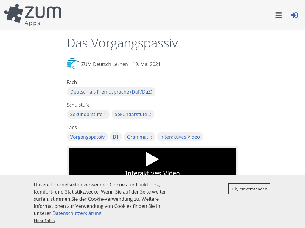 Cover: Das Vorgangspassiv   ZUM-Apps
